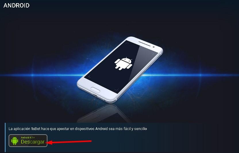 Aplicación Android 1xBet.