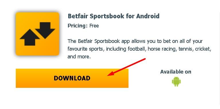 Betfair APK Sportsbook para Android.